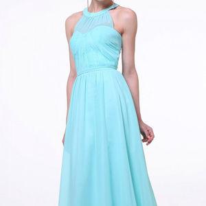 Mint Sleeveless Bridesmaid Long Dress